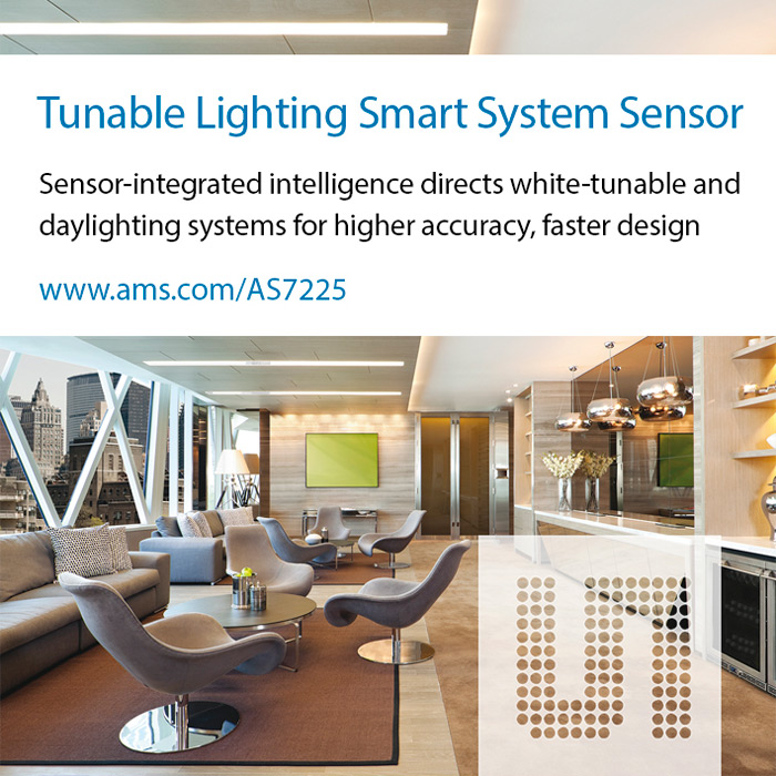 Ams launches AS7225 tunable-white lighting smart system sensor