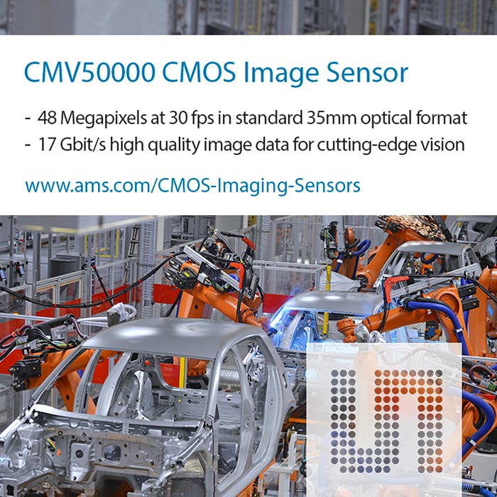 Industry's first global shutter 48Mpixel CMOS image sensor from CMOSIS supports 8k image resolution at 30 frames/s